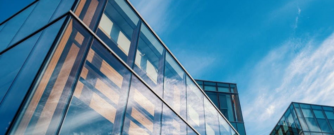 glass facade with low e coated insulated glass